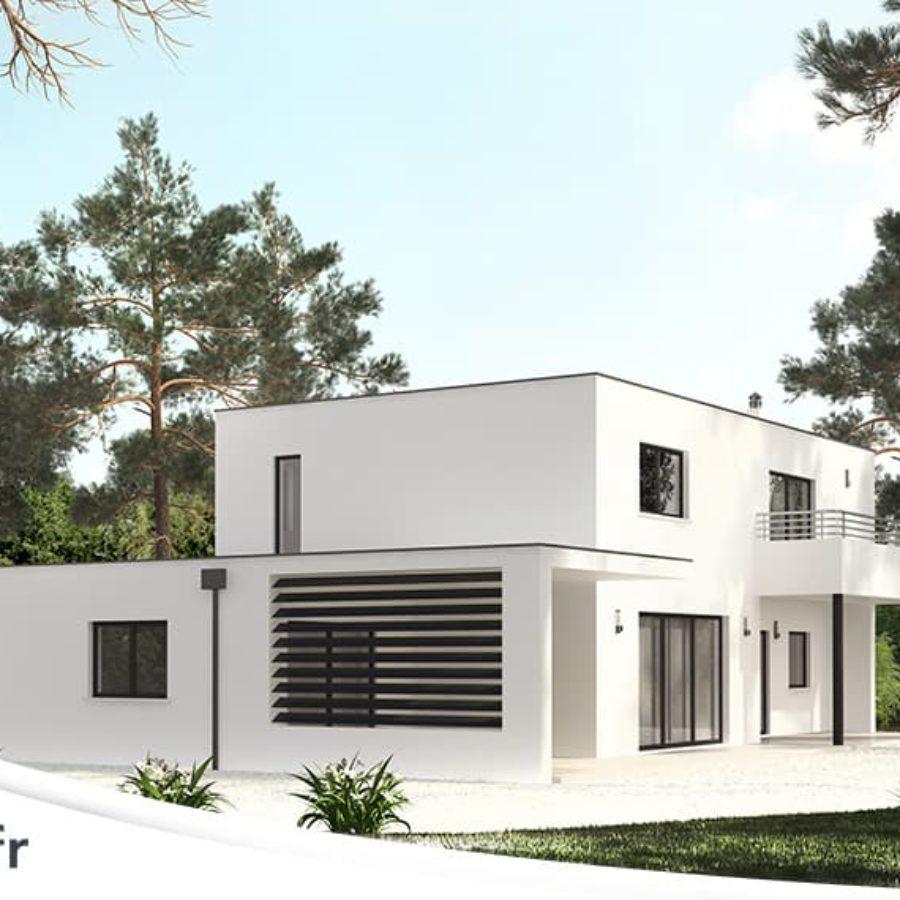 Maison Moderne Avec Patio Interieur lagune -maison contemporaine à étage
