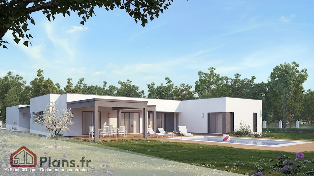 Titanium maison contemporaine de plain pied - Plan de maison contemporaine plain pied ...