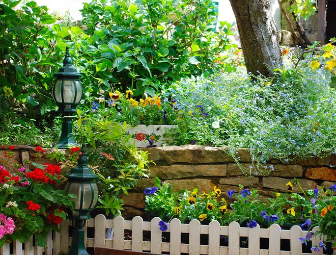 Un exemple de jardin en pente