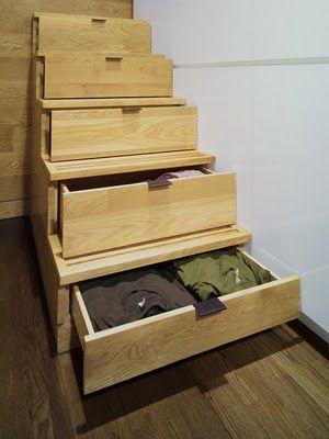 remplacer les marches d'escaliers par des tiroirs